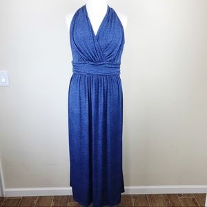 London Times Woman Maxi Halter Blue Dress 24W
